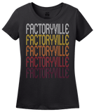 Ladies Black Factoryville, PA | Retro, Vintage Style Pennsylvania Pride  T-shirt