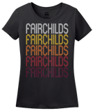 Ladies Black Fairchilds, TX | Retro, Vintage Style Texas Pride  T-shirt
