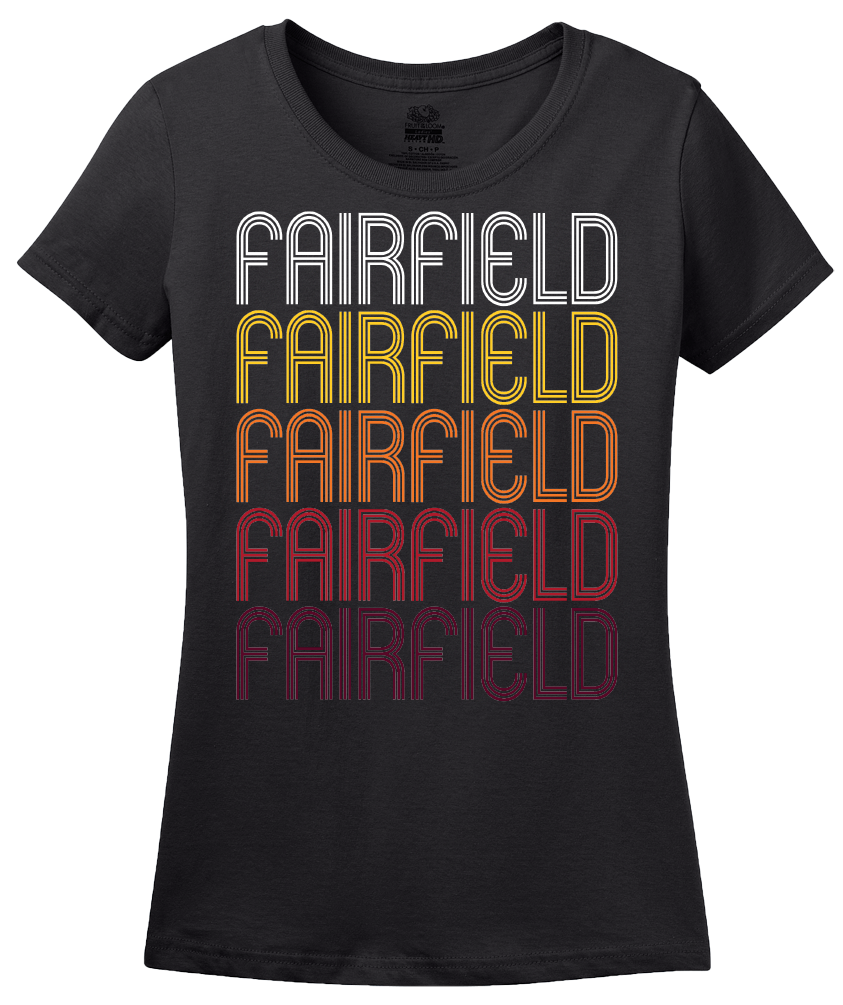 Ladies Black Fairfield, CA | Retro, Vintage Style California Pride  T-shirt