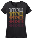 Ladies Black Farmerville, LA | Retro, Vintage Style Louisiana Pride  T-shirt