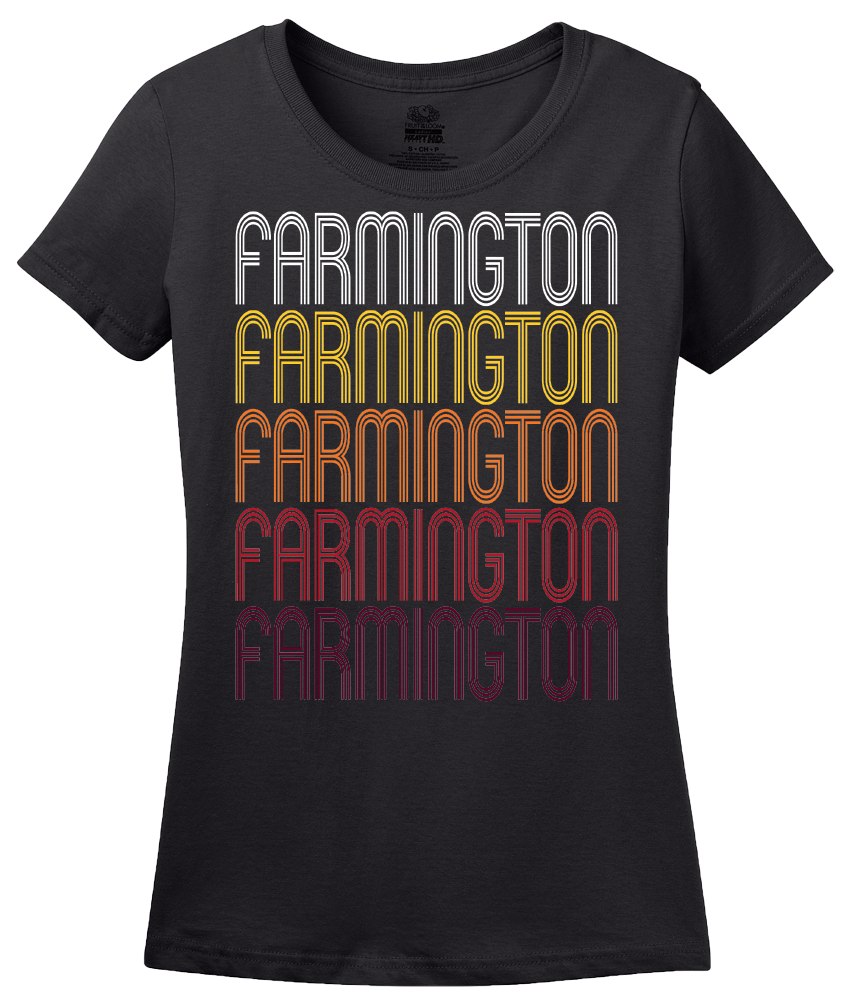 Ladies Black Farmington, IL | Retro, Vintage Style Illinois Pride  T-shirt