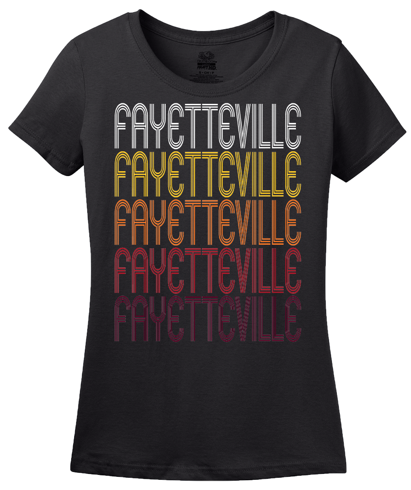 Ladies Black Fayetteville, NC | Retro, Vintage Style North Carolina Pride  T-shirt