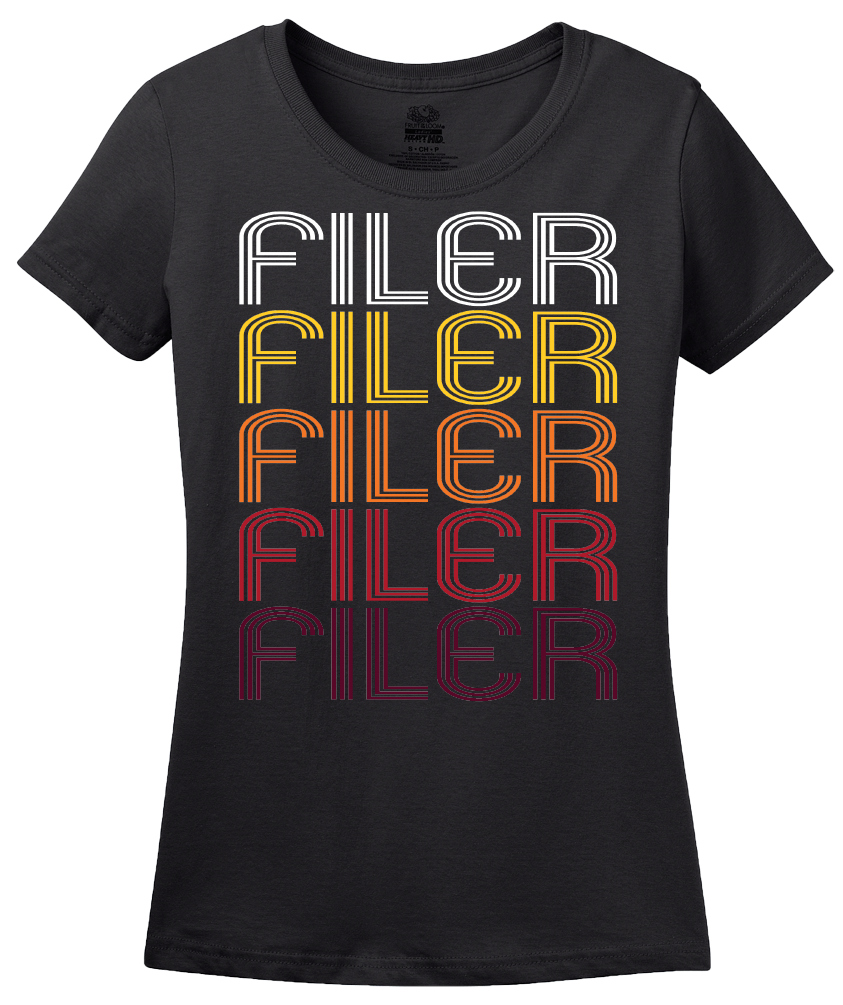 Ladies Black Filer, ID | Retro, Vintage Style Idaho Pride  T-shirt