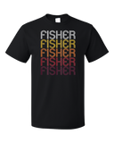 Standard Black Fisher, IL | Retro, Vintage Style Illinois Pride  T-shirt