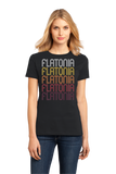 Ladies Black Flatonia, TX | Retro, Vintage Style Texas Pride  T-shirt