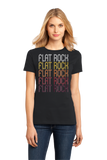 Ladies Black Flat Rock, MI | Retro, Vintage Style Michigan Pride  T-shirt