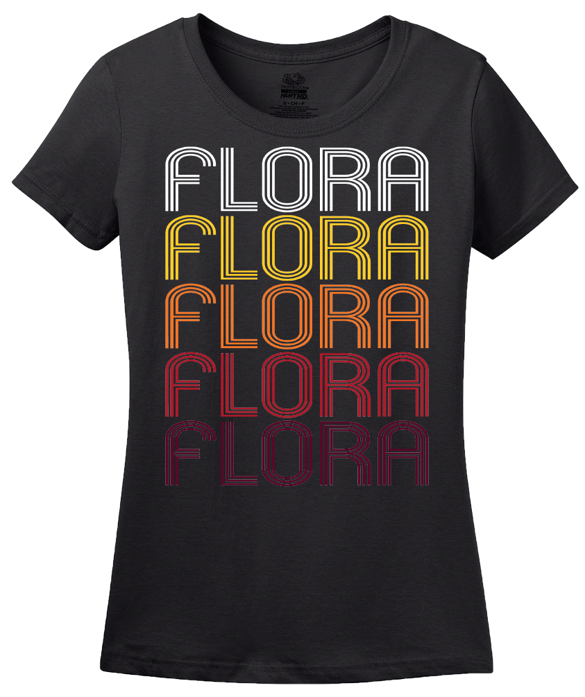 Ladies Black Flora, IL | Retro, Vintage Style Illinois Pride  T-shirt