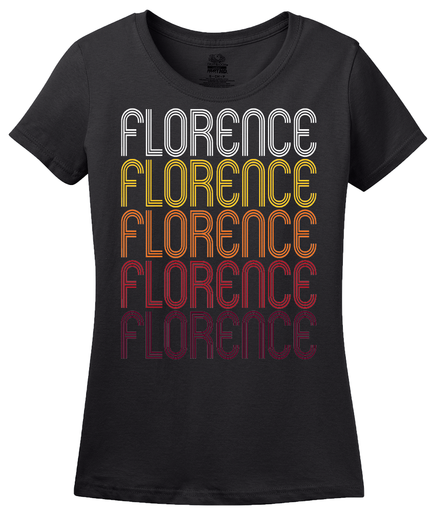 Ladies Black Florence, MS | Retro, Vintage Style Mississippi Pride  T-shirt