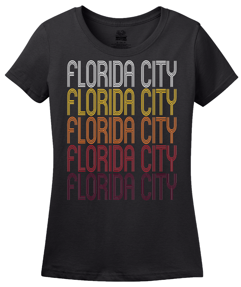 Ladies Black Florida City, FL | Retro, Vintage Style Florida Pride  T-shirt