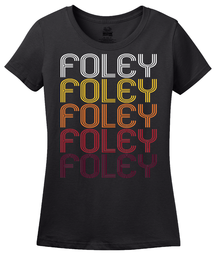 Ladies Black Foley, AL | Retro, Vintage Style Alabama Pride  T-shirt