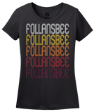 Ladies Black Follansbee, WV | Retro, Vintage Style West Virginia Pride  T-shirt