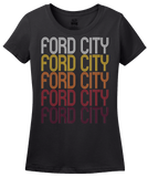Ladies Black Ford City, PA | Retro, Vintage Style Pennsylvania Pride  T-shirt