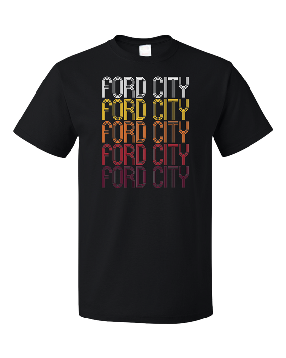 Standard Black Ford City, PA | Retro, Vintage Style Pennsylvania Pride  T-shirt