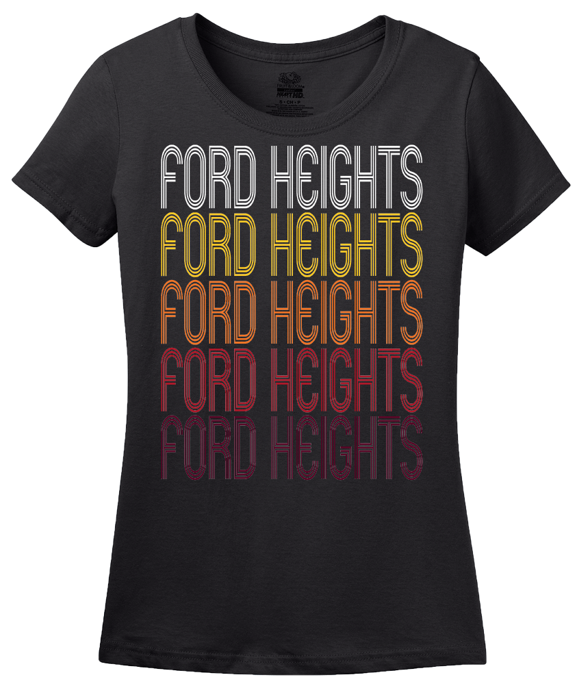 Ladies Black Ford Heights, IL | Retro, Vintage Style Illinois Pride  T-shirt