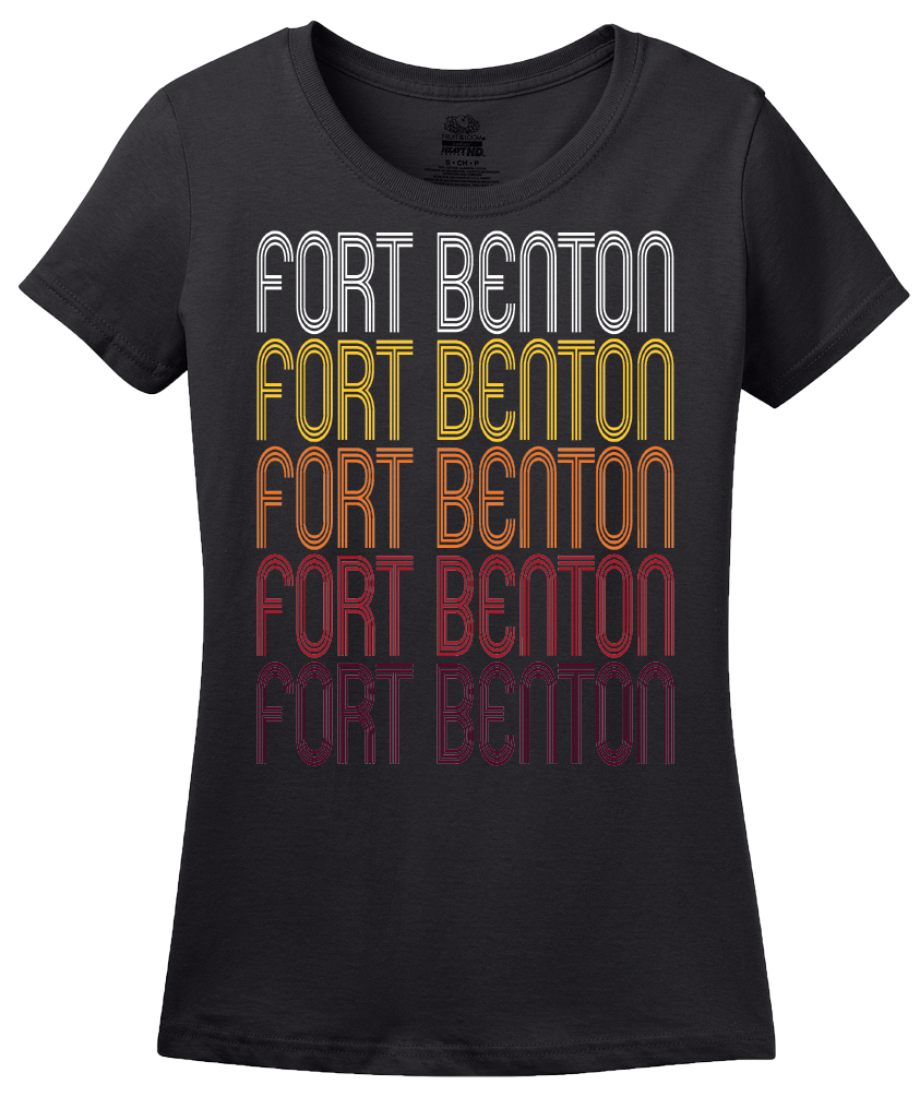 Ladies Black Fort Benton, MT | Retro, Vintage Style Montana Pride  T-shirt