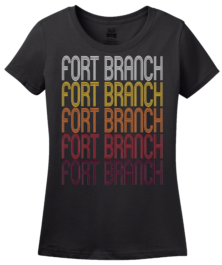 Ladies Black Fort Branch, IN | Retro, Vintage Style Indiana Pride  T-shirt