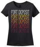 Ladies Black Fort Deposit, AL | Retro, Vintage Style Alabama Pride  T-shirt
