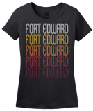 Ladies Black Fort Edward, NY | Retro, Vintage Style New York Pride  T-shirt
