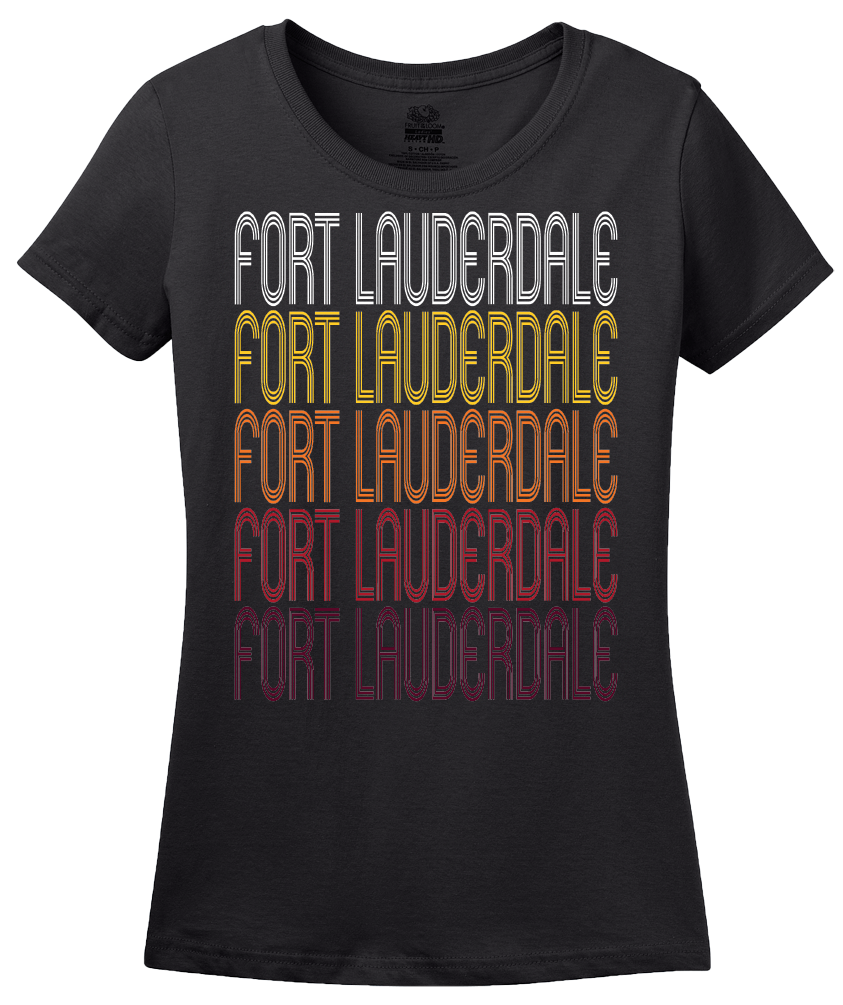 Ladies Black Fort Lauderdale, FL | Retro, Vintage Style Florida Pride  T-shirt
