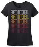 Ladies Black Fort Mitchell, KY | Retro, Vintage Style Kentucky Pride  T-shirt