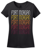 Ladies Black Fort Morgan, CO | Retro, Vintage Style Colorado Pride  T-shirt