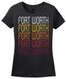 Ladies Black Fort Worth, TX | Retro, Vintage Style Texas Pride  T-shirt