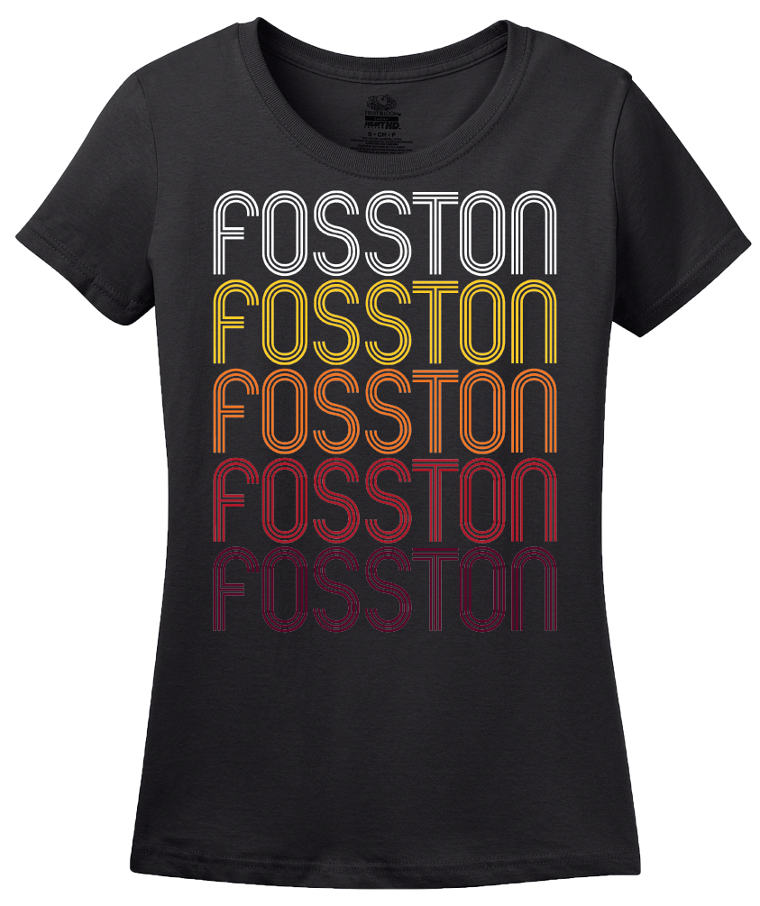 Ladies Black Fosston, MN | Retro, Vintage Style Minnesota Pride  T-shirt