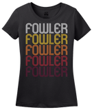Ladies Black Fowler, CO | Retro, Vintage Style Colorado Pride  T-shirt