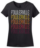 Ladies Black Fowlerville, MI | Retro, Vintage Style Michigan Pride  T-shirt