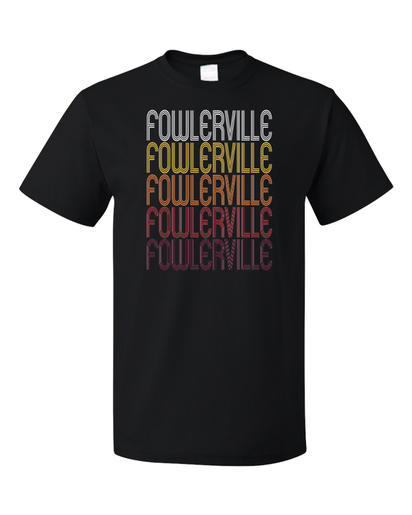 Standard Black Fowlerville, MI | Retro, Vintage Style Michigan Pride  T-shirt