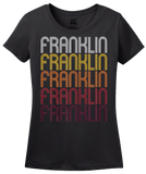 Ladies Black Franklin, LA | Retro, Vintage Style Louisiana Pride  T-shirt
