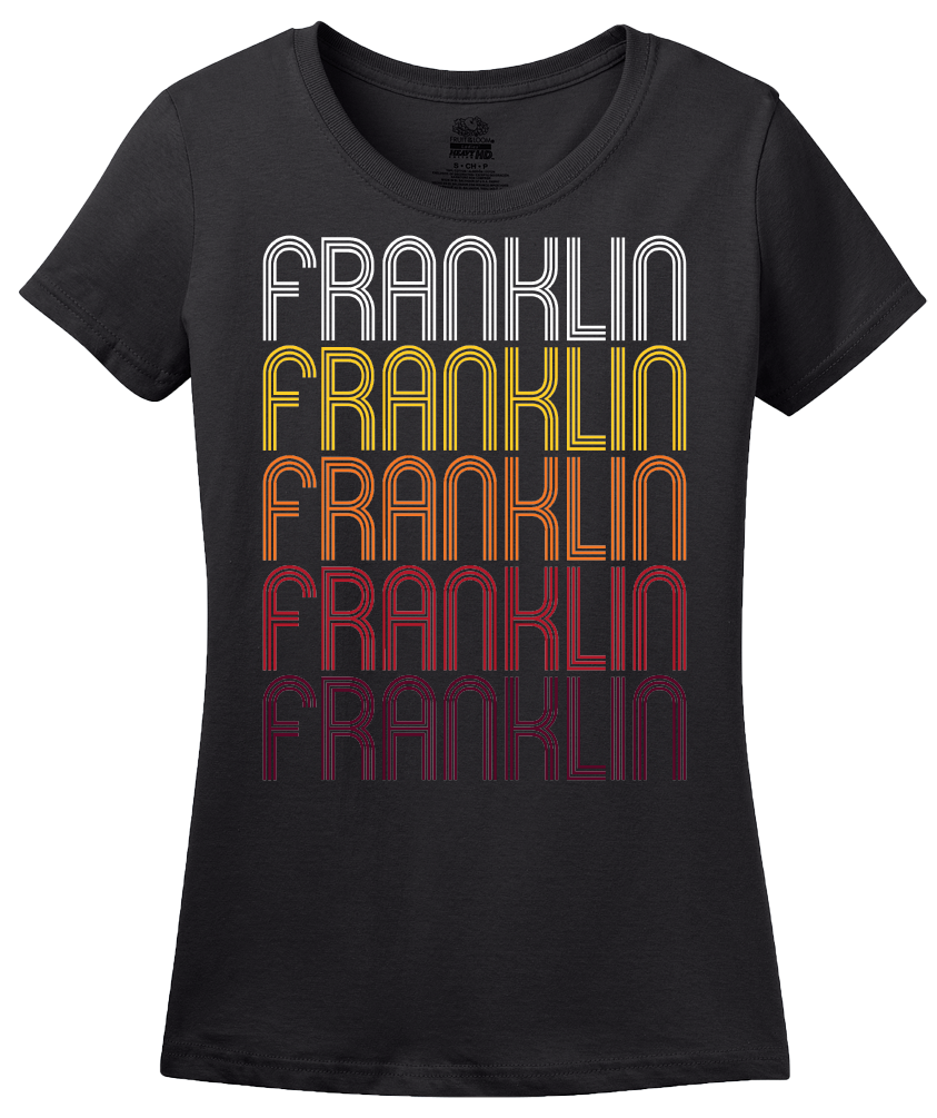 Ladies Black Franklin, NC | Retro, Vintage Style North Carolina Pride  T-shirt