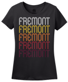 Ladies Black Fremont, NE | Retro, Vintage Style Nebraska Pride  T-shirt