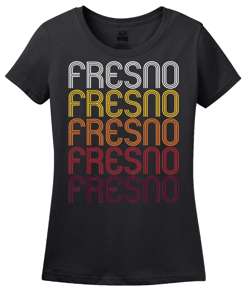 Ladies Black Fresno, CA | Retro, Vintage Style California Pride  T-shirt