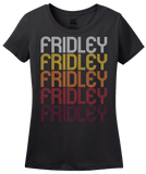 Ladies Black Fridley, MN | Retro, Vintage Style Minnesota Pride  T-shirt