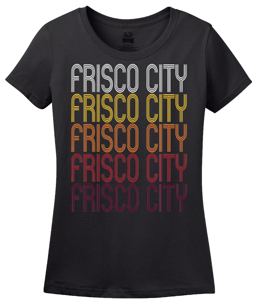 Ladies Black Frisco City, AL | Retro, Vintage Style Alabama Pride  T-shirt