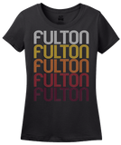 Ladies Black Fulton, TX | Retro, Vintage Style Texas Pride  T-shirt