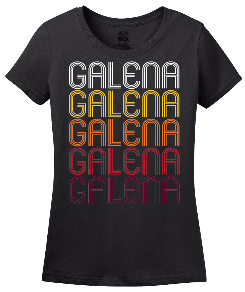 Ladies Black Galena, IL | Retro, Vintage Style Illinois Pride  T-shirt