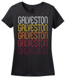 Ladies Black Galveston, TX | Retro, Vintage Style Texas Pride  T-shirt