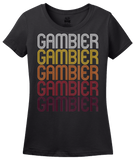 Ladies Black Gambier, OH | Retro, Vintage Style Ohio Pride  T-shirt