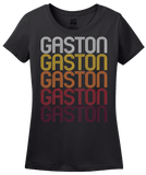 Ladies Black Gaston, SC | Retro, Vintage Style South Carolina Pride  T-shirt