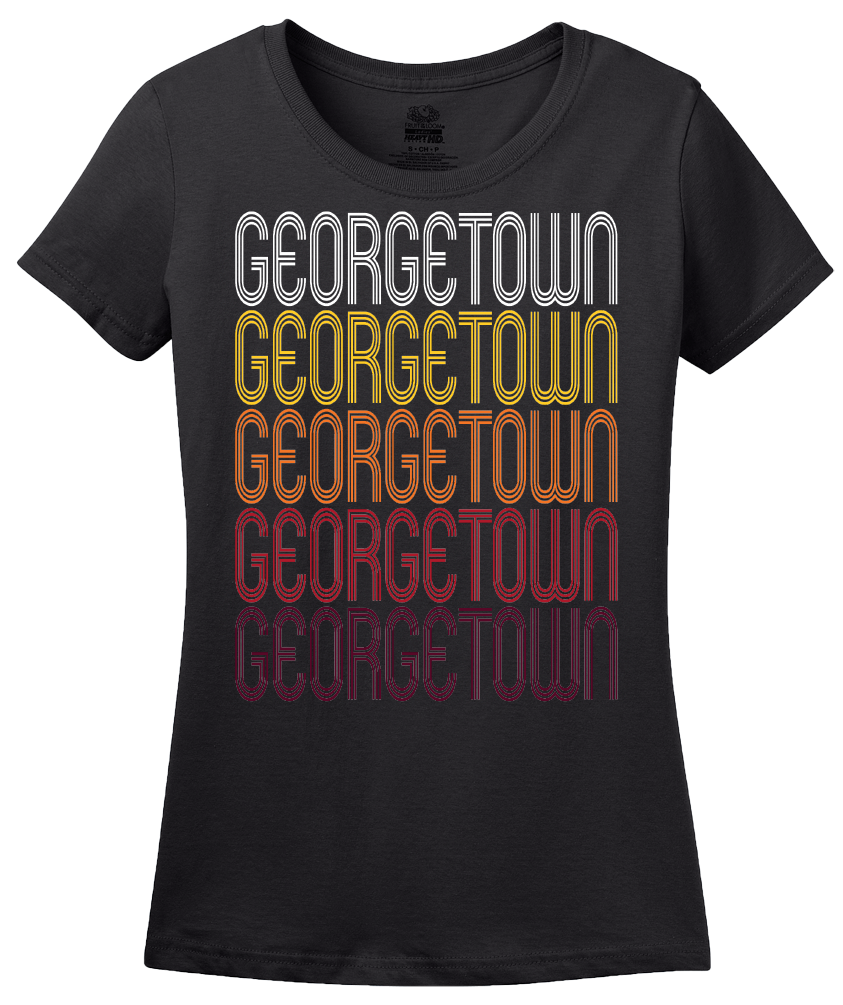 Ladies Black Georgetown, TX | Retro, Vintage Style Texas Pride  T-shirt