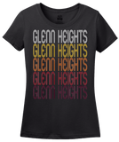 Ladies Black Glenn Heights, TX | Retro, Vintage Style Texas Pride  T-shirt