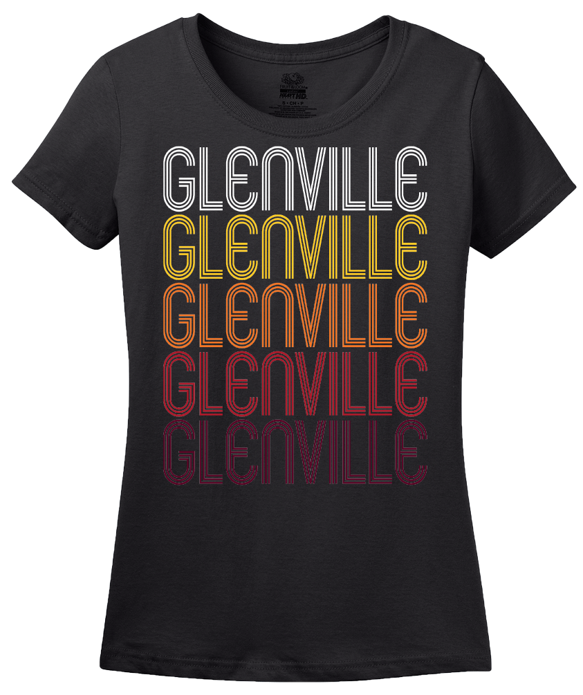 Ladies Black Glenville, WV | Retro, Vintage Style West Virginia Pride  T-shirt