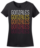 Ladies Black Gonzales, LA | Retro, Vintage Style Louisiana Pride  T-shirt