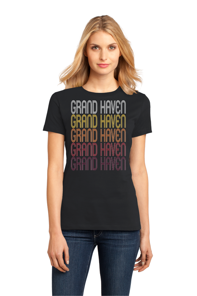 Ladies Black Grand Haven, MI | Retro, Vintage Style Michigan Pride  T-shirt