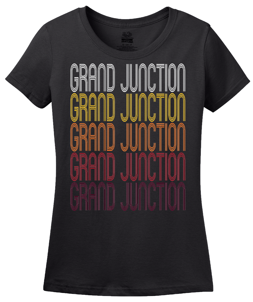 Ladies Black Grand Junction, CO | Retro, Vintage Style Colorado Pride  T-shirt