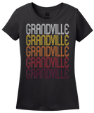 Ladies Black Grandville, MI | Retro, Vintage Style Michigan Pride  T-shirt