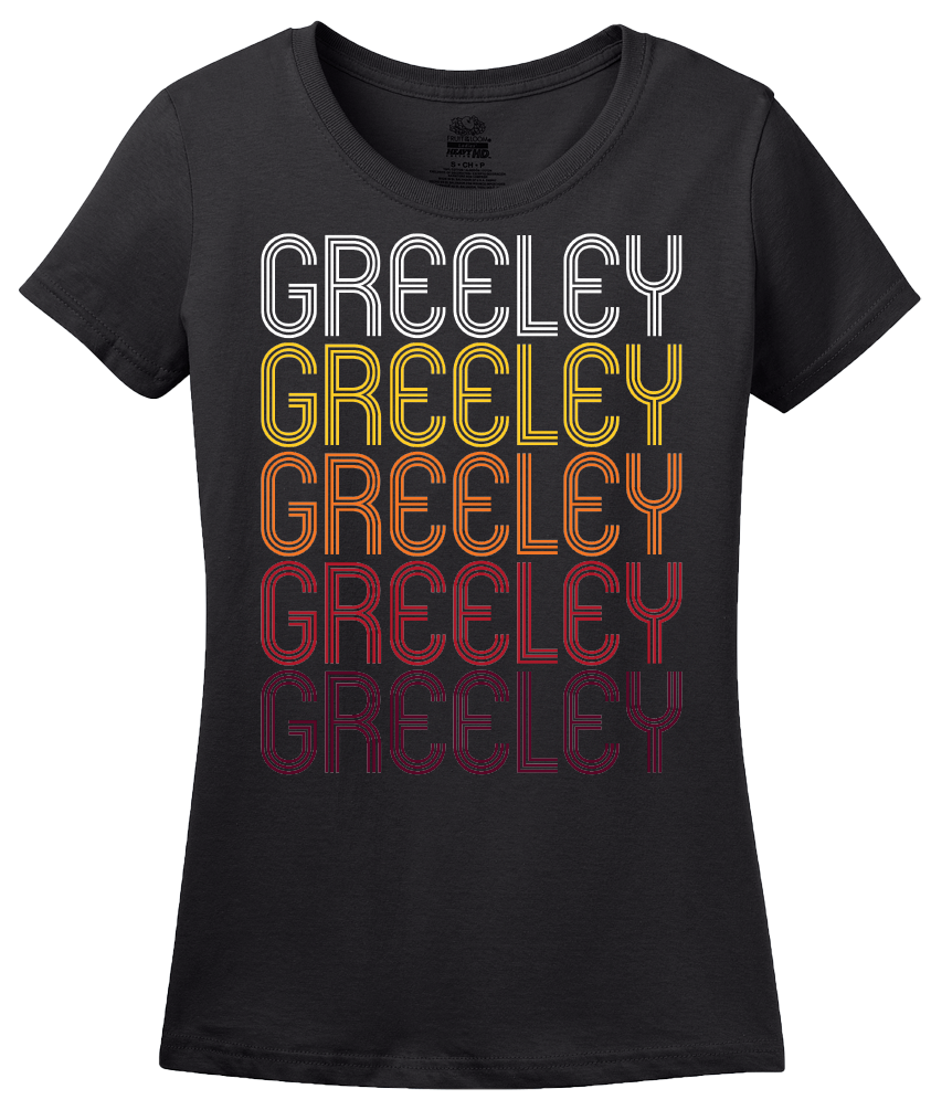 Ladies Black Greeley, CO | Retro, Vintage Style Colorado Pride  T-shirt