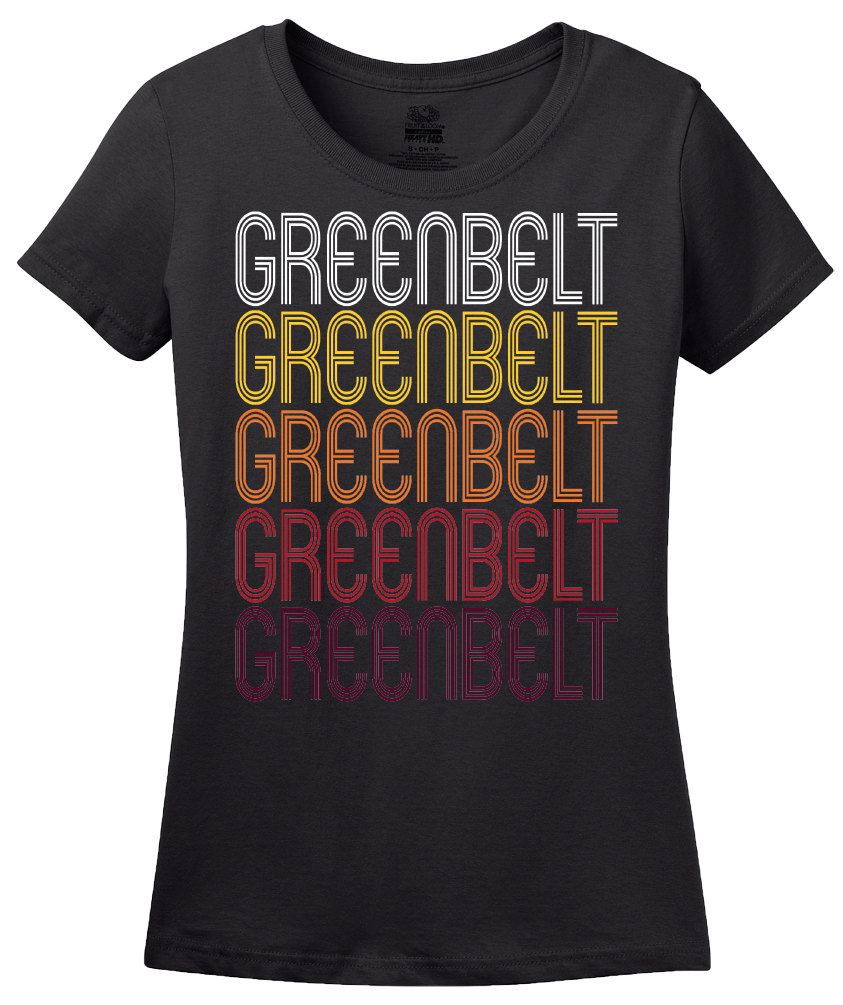 Ladies Black Greenbelt, MD | Retro, Vintage Style Maryland Pride  T-shirt